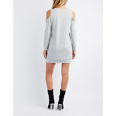Babes Cold Shoulder Sweatshirt Dress