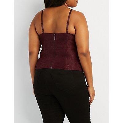 Plus Size Lace & Velvet Caged Bustier Top