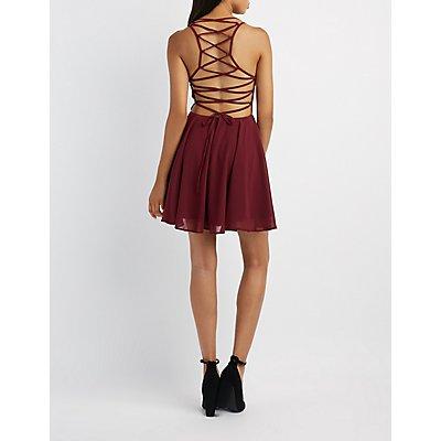 Lace-Up Back Skater Dress