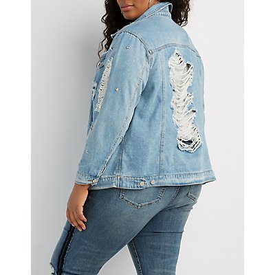Plus Size Studded Destroyed Boyfriend Denim Jacket