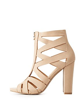 Caged Zip-Front Sandals