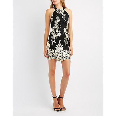 Floral Embroidered Open-Back Bodycon Dress