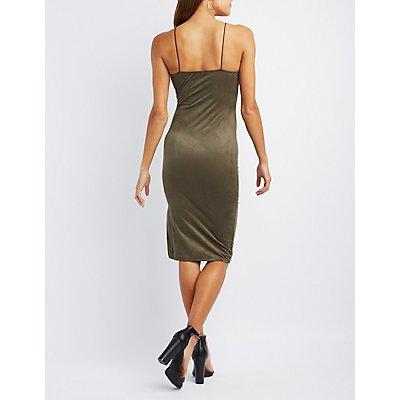 Faux Suede Midi Slip Dress