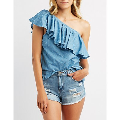 Chambray One-Shoulder Top