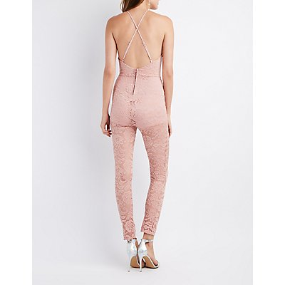 Lace Bib Neck Open-Back Jumpsuit