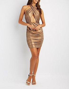 Ruched Halter-Neck Open-Back Bodycon Dress