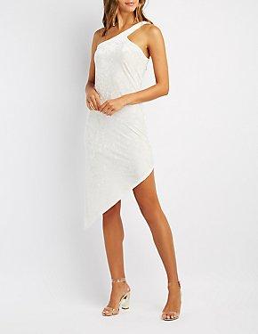 Velvet One-Shoulder Asymmetrical Bodycon Dress