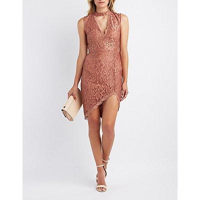 Lace Choker Neck Bodycon Dress