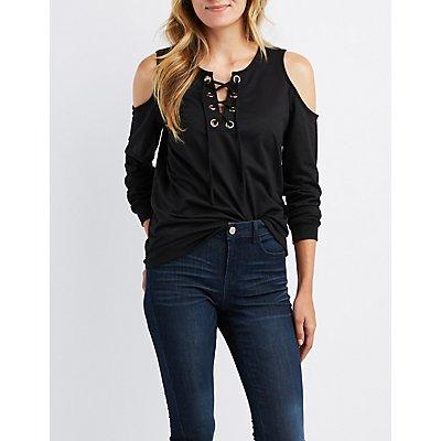 Cold Shoulder Lace-Up Detail Sweatshirt
