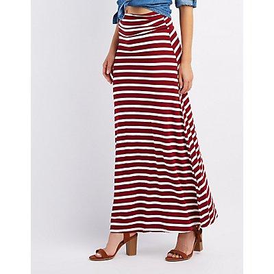 Striped Foldover Waist Maxi Skirt