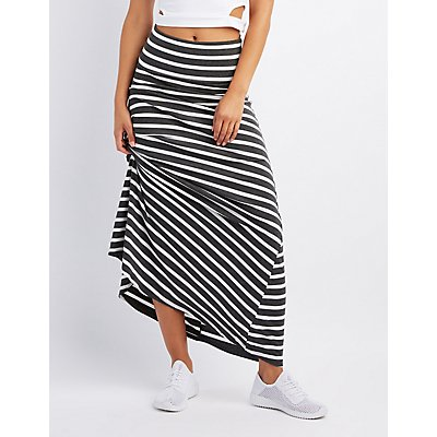 Striped Foldover Waist Maxi Skirt
