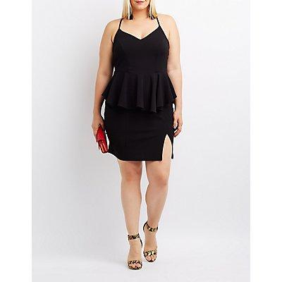 Plus Size Peplum Bodycon Dress