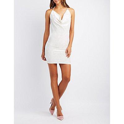 Cowl Neck Open-Back Bodycon Dress