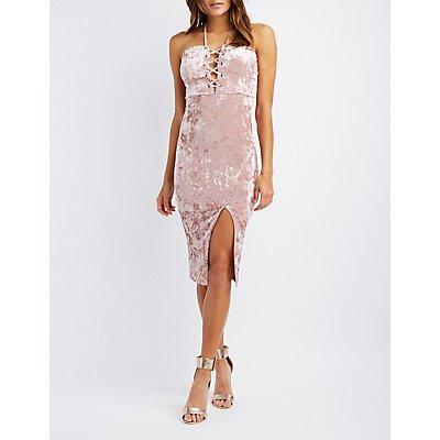 Velvet Strapless Lace-Up Dress