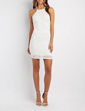 Lace Bib Neck Bodycon Dress