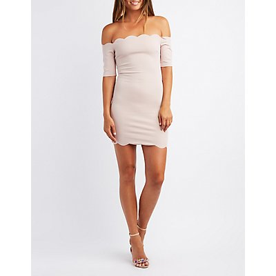 Scalloped Off-The-Shoulder Bodycon Dress