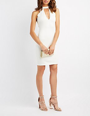 Scalloped Cut-Out Bib Neck Bodycon Dress
