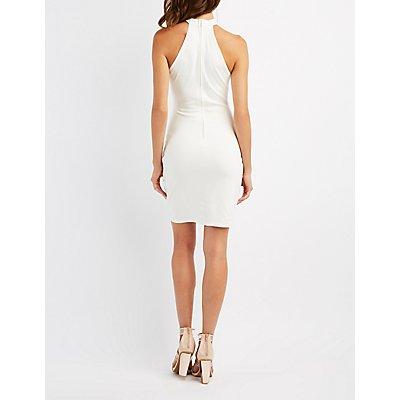 Scalloped Cut-Out Bib Neck Bodycon Dress