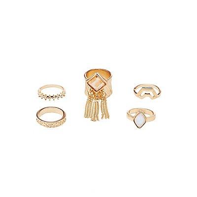 Embellished Stacking Rings - 5 Pack