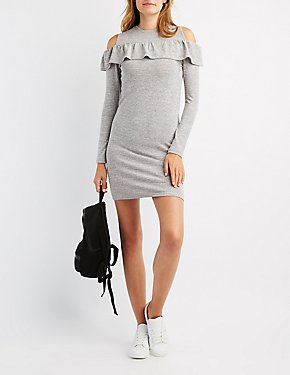 Ruffle-Trim Cold Shoulder Shift Dress