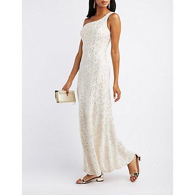 Sequin One-Shoulder Maxi Dress