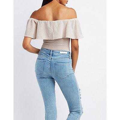 Shimmer Knit Ruffle Off-The-Shoulder Bodysuit