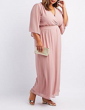 Plus Size Kimono Sleeve Surplice Maxi Dress