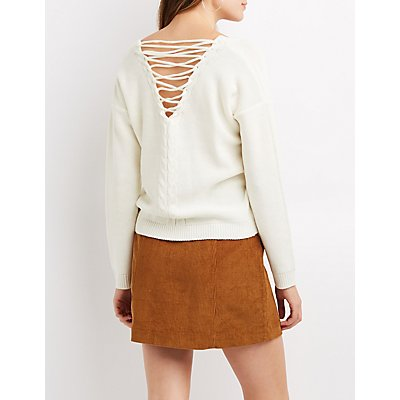 Cable Knit Lattice-Back Sweater