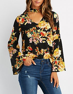 Floral Cut-Out Bell Sleeve Top