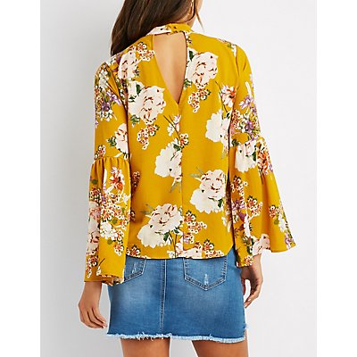 Floral Choker Neck Bell Sleeve Top