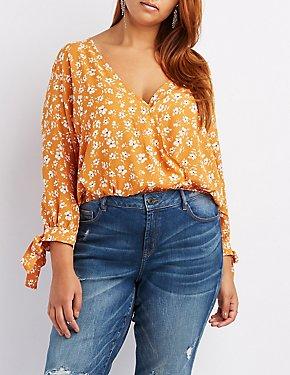 Plus Size Floral Surplice Split Sleeve Top