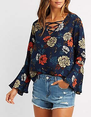 Floral Caged Bell Sleeve Top