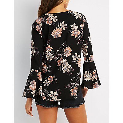 Floral Lattice Bell Sleeve Top