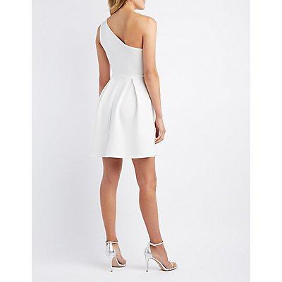 One Shoulder Scuba Skater Dress