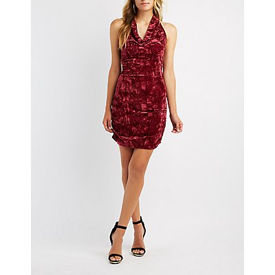Velvet Cowl Neck Bodycon Dress