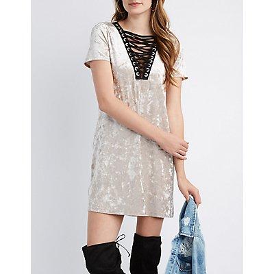 Velvet Lattice-Front Dress