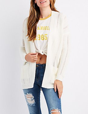 Chevron Open-Front Cardigan