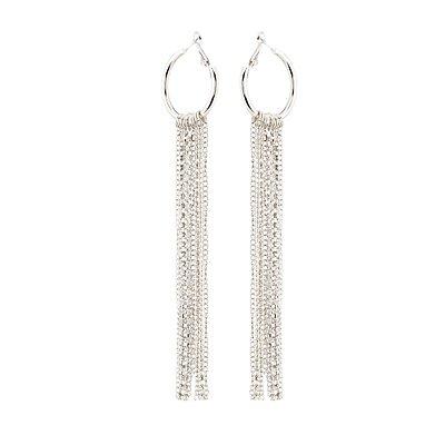 Rhinestone & Tassel Hoop Earrings