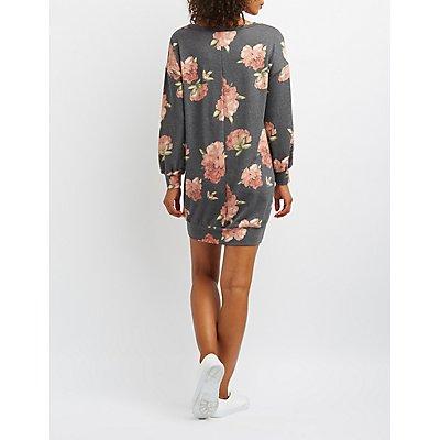 Floral Sweatshirt Dress