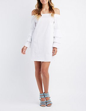 Off-The-Shoulder Ruffle-Trim Bell Sleeve Shift Dress