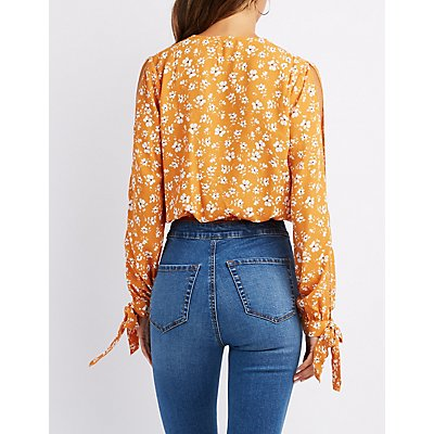 Floral Surplice Tie-Sleeve Top
