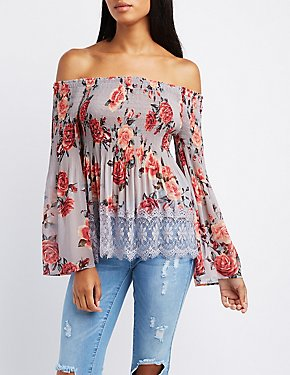 Floral Lace-Trim Smocked Off-The-Shoulder Top