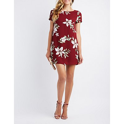 Floral Caged-Back Shift Dress