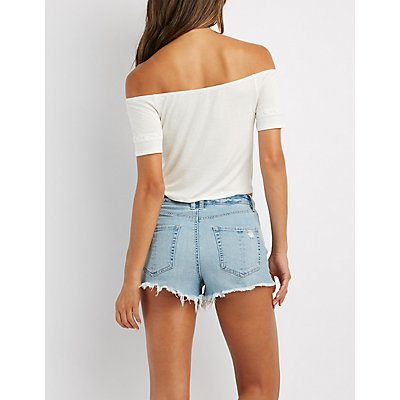 Tied Off-The-Shoulder Crop Top