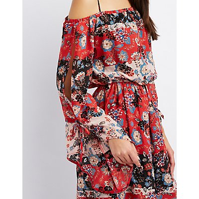 Floral Cold Shoulder Split Bell Sleeve Dress