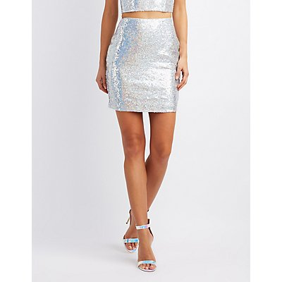 Holographic Sequin Pencil Skirt