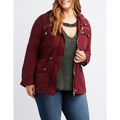 Plus Size Anorak Plaid Hooded Jacket