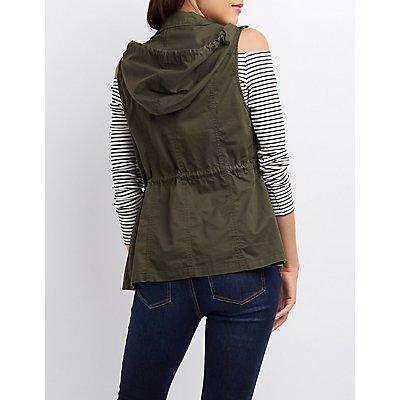 Hooded Drawstring Utility Vest