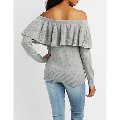 Ruffle Off-The-Shoulder Sweater