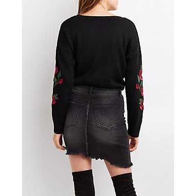Floral Embroidered Shaker Stitch Sweater
